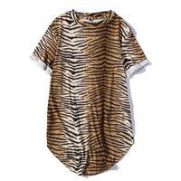 Wholesale Leopard Print T Shirts - hip hop t-shirt men 2017 summer male short sleeve t shirt round bottom arc Printing tiger grain tshirt Curve Hem Mens Street Wear Tops