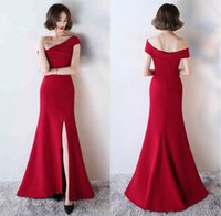 Wholesale Mermaid Prom Dresses For Sale - Wine Red Mermaid Split Front Sexy Long Evening Dress Party Gown 2017 One Shoulder Long Formal Dress Evening Prom Gown Cheap For Sale ADE004