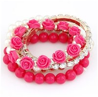 Wholesale Candy Charms For Bracelets - Trendy Fashion Candy Color Pearl Rose Flower Multilayer Charm Bracelet & Bangle For Women Fashion Crystal Dress Jewelry
