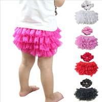 Wholesale christmas pettiskirts for sale - Group buy Baby Bloomers Kids Clothing Girl TUTU Pettiskirts Lace PP Pants Toddler Flower Headbands Shorts Infant Chiffon Pants Ruffled Underpants G161