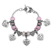 spotting drills - Stainless Steel Mixed Beads Forever Love Mum Best Sister Nana Honey Heart Pendent Pink Crystal Spot Drill Flower OT Clasp Bracelets