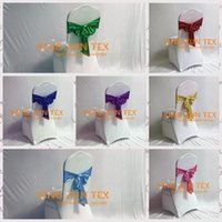 Wholesale Tie Backs For Chairs Wedding - Wholesale Price Bronzing Coated Lycra Spandex Chair Band Chair Sash With Tie Bow Back For Wedding Chair Cover Decoration