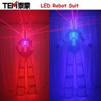 Wholesale Robot Helmet - Laser Suits Robot Costume David Guetta LED Robot Suit With Laser Helmet illuminated kryoman Robot led stilts clothes