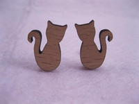 Wholesale Wooden Earrings Studs - Vintage Cat earrings 10pairs per lot fashion design cats wooden studs