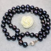 Wholesale Black Cultured Pearl Beads - High grade charms natural freshwater cultured black pearl 9-10mm nearround beads necklace for women elegant jewelry 18inch B3021