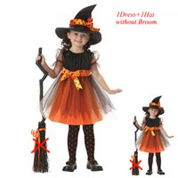 Wholesale Baby Witch Costumes - 2017 Cosplay Baby Girls Witch Dress Baby Kids Hat Cap Princess Party DressesTutu Children Clothing Carnival Halloween Cosplay Costumes
