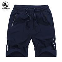 Wholesale field pants - Wholesale- Field Base 2017 new summer mens shorts elastic casual shorts fashion jogger shorts black men short pants solid 4XL 5XL 7525A