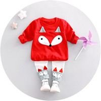 Wholesale Blouse Girls Years - Cartoon kids dress 1-4 years baby children clothing sets boy and girl blouses and pants free shipping