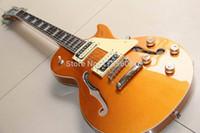 Wholesale Hollow Body Goldtop - Wholesale- Wholesale Custom Shop jazz electric guitar semi hollow body in gold goldtop 121202