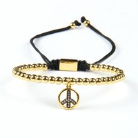 Vente en gros New Arrival 4mm Or et Silver Brass Beads With Clear Cz Love Peace Energy Chams Lace Up Bracelet