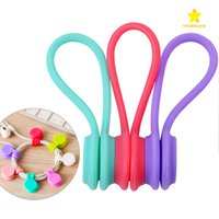 Wholesale Silicone Cable Clips - 3PCS Hot Multifunction Magnet Silicone Earphone Headphone Cord Winder USB Cable Holder Strap Magnetic Organizer Gather Clips Colorful