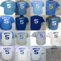 2017 Cheap Wholesale Mens Womens Youth Toddler Kansas City 5 George Brett Azul Branco Cinzento Cool Flex Base Stitched Throwback Baseball Jerseys