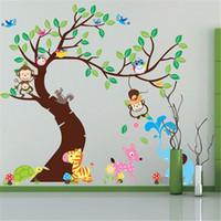 decoração de animais 3d venda por atacado-Animal dos desenhos animados Árvore Papel De Parede 3D Do Vintage Criança Vinil Adesivo de Parede Decoração de Casa Decoração Para Quartos de Crianças Adesivo De Parede Cartazes