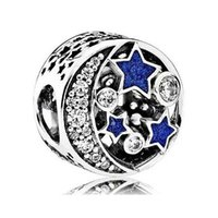 Wholesale zodiac accessories online - Night Sky Charms Bead Authentic Sterling Silver Jewelry AAA CZ Midnight Enamel Moon Star Beads For DIY Brand Logo Bracelets Accessories