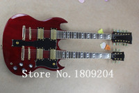 Wholesale Double Neck Guitar Custom - Wholesale-Hot Selling 6 strings and 12 strings double neck g shop custom SG electric guitar in red color