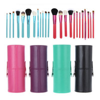 Wholesale Makeup Brush Cup Case - 12pcs lot Makeup Tools Brushes Fashional Cosmetic Brush set kits Tool 5 Colors Facial Make up brushes with Cup Holder Case ZA2032
