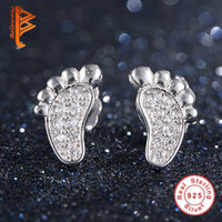 Wholesale Real Sterling Silver 925 Earings - BELAWANG New Arrival Earings Fashion Jewelry Real 925 Sterling Silver Cute Footprints Stud Earrings For Women High Quality Elegant Style