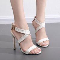 Wholesale American Gladiator - European and American fan shaped skinny feet, snake heels, high heels and sandals