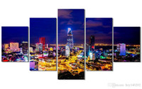Wholesale Scene Wall - YIJIAHE Abstract Print Canvas Painting Night Scene 5 Piece Canvas Art Wall Pictures For Living Room Large Wall Art A1 Framed