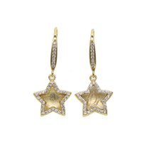 Wholesale Real Gold Jewelry Earing - Hot sale star Gold Color drop Earings Jewelry cute cubic zirconia real 925 sterling silver women wedding trendy pendant earing 2017