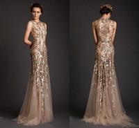 vestidos formales de oro vestidos de noche al por mayor-Krikor Jabotian vestidos de noche 2017 forma de sirena de oro Tul Sheer See a través de apliques vestido de fiesta Emboridery largo formal Dubai vestidos
