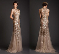 Wholesale Evening Sleeves - Krikor Jabotian Evening Dresses 2017 Gold Mermaid Shape Tulle Sheer See Through Appliques Prom Dress Emboridery Long Formal Dubai Gowns