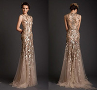 Wholesale Long Capped Prom Dresses - Krikor Jabotian Evening Dresses 2017 Gold Mermaid Shape Tulle Sheer See Through Appliques Prom Dress Emboridery Long Formal Dubai Gowns