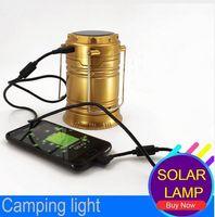 bombilla linterna de mano al por mayor-6 LEDs Lámpara de mano recargable plegable solar que acampa linterna luces de la tienda para la iluminación al aire libre Senderismo Camping Solar USB bombilla