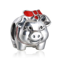 Wholesale Enamel Bowknot - TopeasyJewelry 925 Sterling Silver Red Enamel Bowknot Piggy Bank Charm Beads For Jewelry Making Diy Valentine's Day Charms Bracelets