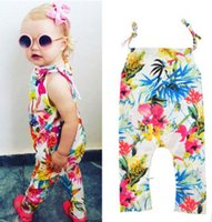 Wholesale Suspender Jumpsuit - Baby girls romper summer new toddler kids flowers printed romper children lace-up bows suspender jumpsuits kids floral climb clothes T3013