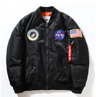 Wholesale Men Navy Baseball Jacket - NASA Navy flying jacket for Men MA1 Bomber Jacket thick Insignia USAF Coats Male Jacket Embroidery Baseball Military coat