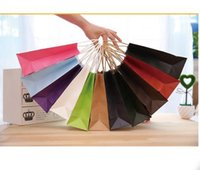 Wholesale Paper Shopping - hot sell Natural kraft paper bag with handle Wedding Party Favor Paper Gift Bags Tempo Shopping Bag