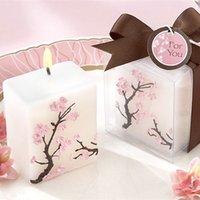 Wholesale Candle Favors For Baby Shower - Cherry Blossoms Candle For Wedding Party Baby Shower Birthday Souvenirs Gifts Favor Christmas Gifts Mini Pillar Sixteen Candle Favors