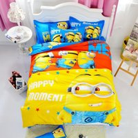 Wholesale Super Hero Cotton Bedding Sets Cartoon Printed Spiderman Minions Duvet Cover Set Bed Sheet for Children Adults Queen Size