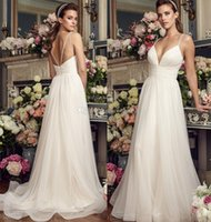 Wholesale Thin Simple Wedding Dresses - ruched bodice simple tulle skirt flowy a line wedding dresses 2017 mikaella bridal double thin strap deep sweetheart neckline sweep train