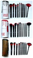 Wholesale Makeup Brush Set Red - HOT Kylie Makeup Brush Cosmetic Foundation BB Cream Powder Blush 12 pieces Makeup Tools Black   red gold DHL Free shipping+GIFT