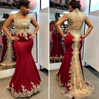 Wholesale 2017 Burgundy Mermaid Evening Dresses Long Gold Lace Appliques V Neck Arabic Sexy Red Prom Dresses Pageant Gowns