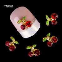 rhinestones rojos uñas arte al por mayor-Al por mayor-10pc / lot Red Cherry 3D Nail Art Charm Decoraciones Aleación Brillo Joyas Rhinestones para Nail Art Studs Herramientas de uñas DIY Gem TN061