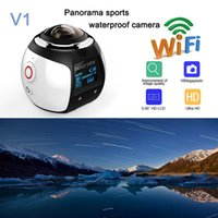 Wholesale Video Camera Hd 16mp - MOQ:2PCS V1 HD 4K 360 Camera Ultra Mini Panoramic Camera WIFI 16MP 3D Waterproof Sports Driving VR Action Camera Action Video cam