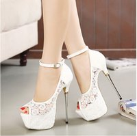 Wholesale White Peep Toe Bridal Shoes - Bridal White Lace Wedding Shoes Designer Shoes Ankle Strap 16CM Sexy Super High Heels prom dress shoes