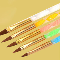 5pcs 2-Way Nail Brushes Set Акриловый УФ-гель-Builder Nail Painting Рисунок Pen Cuticle Pusher Nail Dust Cleaner Tool