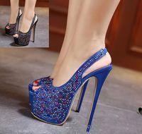 blaue satin peep toe fersen großhandel-Elegante Sling Zurück Blue Satin Strass Schuhe Frauen Super High Heels Plattform Peep Toe Pumps 2017 neue Größe 35 bis 40