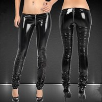 Wholesale pants fasion for sale - Group buy Fasion black sexy Buttocks U fork zipper skinny women casual pants DS Acting SuperCool tights Full Length Pencil Pants