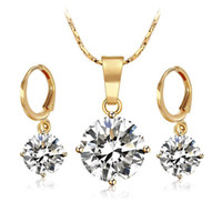 Wholesale high quality cubic zirconia stones for sale - Group buy S k Gold Filled Single Stone Jewelry set Women Pendant Necklace and Earring High Quality Not Allergic