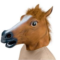 Vente en gros - Costume en caoutchouc d'Halloween Creepy Horse Head Mask Theatre Prop Latex nouveauté