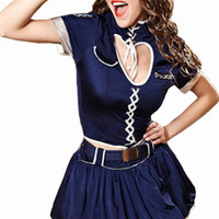 Wholesale Ladies Uniform Skirts Sexy - Gold Hands Sexy Lady Clothes Policewomen Uniform Cosplay Dress Adult Cop Costume With Hat and Skirt and Belt Sets For Women Free shipping