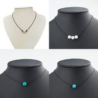 imitacion de perlas negras al por mayor-Collar de gargantilla de perlas minimalistas Negro Cuerda de cuero hecha a mano azul turquesa colgante collares para las mujeres de imitación de perlas naturales joyería de DIY