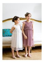 Wholesale Girls Gauze Ruffle Sleeves - Girls princess dresses 2017 summer children lace fly sleeve tulle dress kids lace gauze tutu dress girls party dress kids clothes A0810