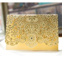 Wholesale Chinese Wedding Red Envelopes - Laser Cut Flower wedding invitations Cards Diamante Personalized Gold Hollow Wedding Party Printable Invitations with Envelope Sealed Cards