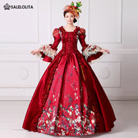 Wholesale period clothing - 2017 Brand New Red Lace Printed Marie Antoinette Dress Southern Belle Victorian Period Ball Gown Reenactment Women Clothing